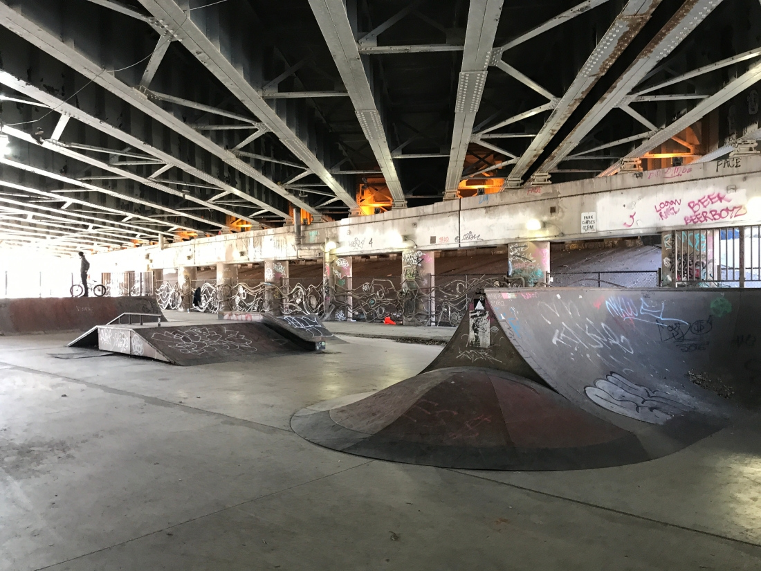 Photo of the ramps at Logan Square Skatepark