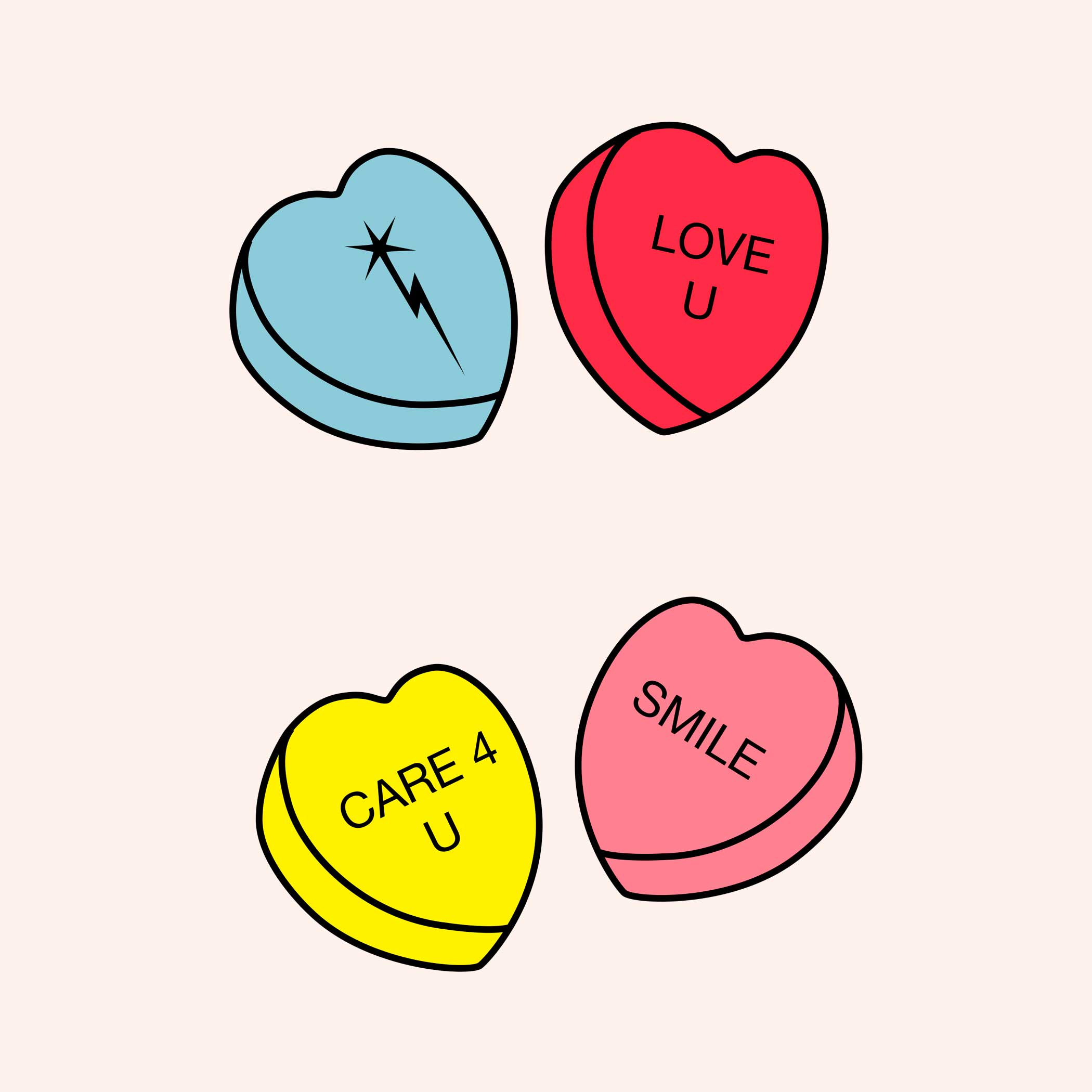 A graphic of four candy hearts with happy messages