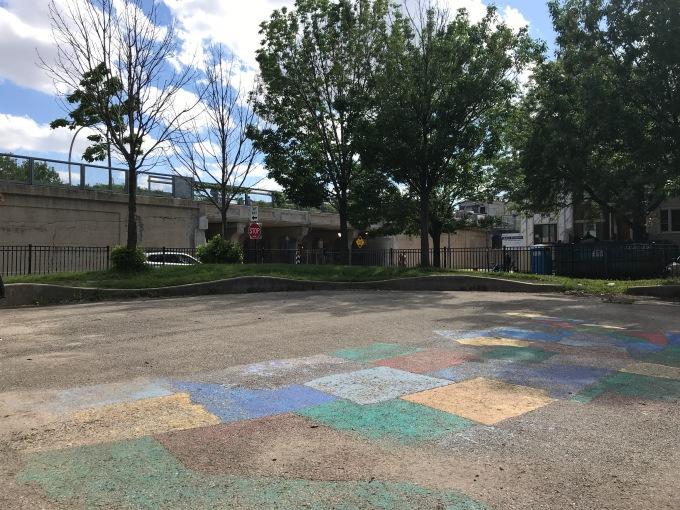 Wide shot of Yates Elementary courtyard