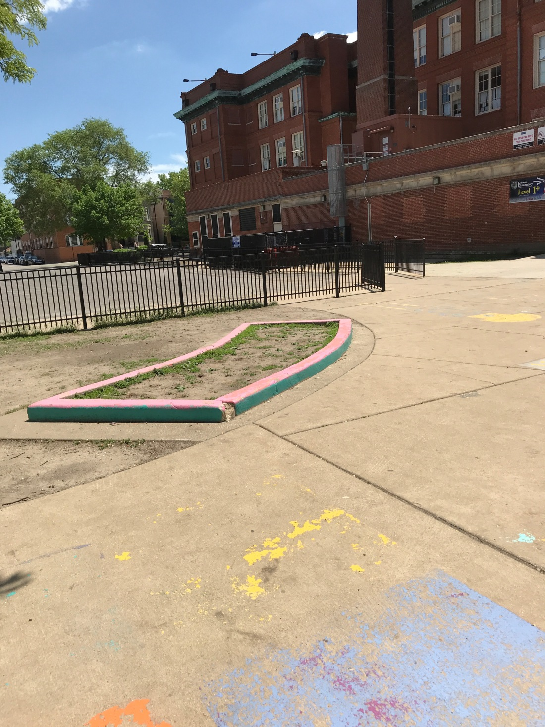 Photo of a colorful curb at Darwin Elementary