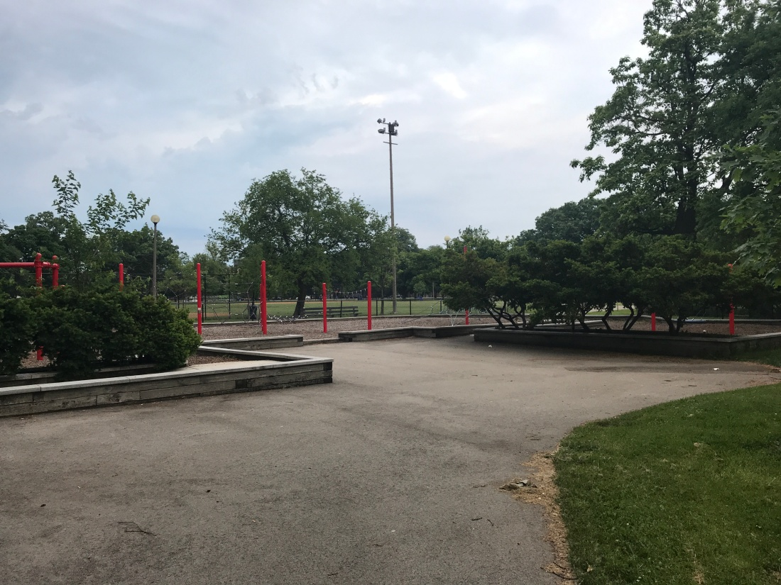 Photo of the border ledges at the playground in Humboldt Park