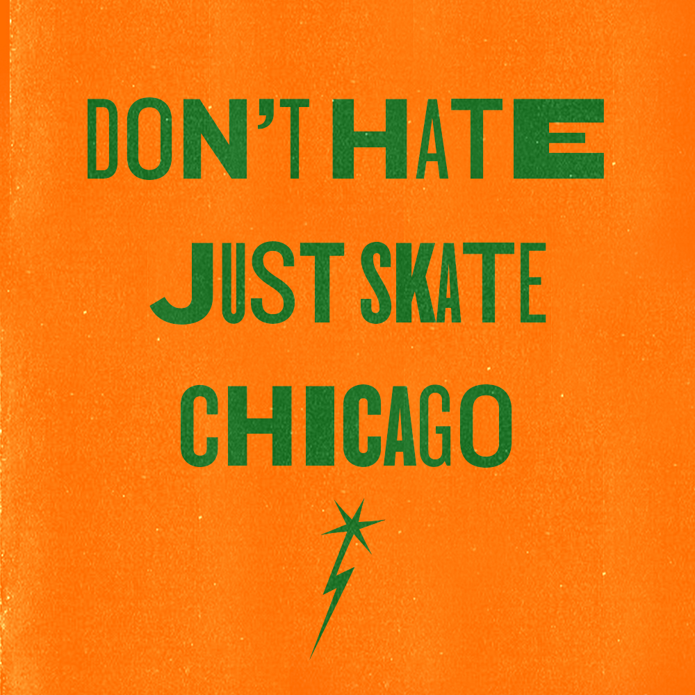 The statement Don't Hate Just State is displayed in a warped green font on an orange background. A rising star graphic is placed right below the statement.